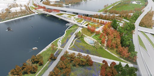 Conceptual Award Shortlist - Project: 11th Street Bridge Park. Location: Washington, DC. Entrant: OLIN + OMA. Image Credit: OLIN + OMA.