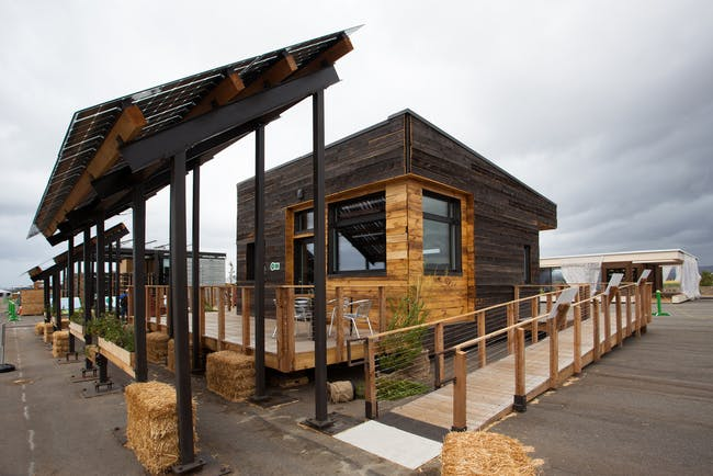 Middlebury College's InSite, image credit Jason Flakes/U.S. Department of Energy Solar Decathlon, via DOE Solar Decathlon flickr stream.