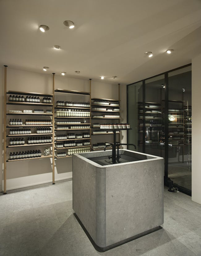 Aesop ABC Viertel in Hamburg, Germany by Vincent Van Duysen Architects; Lighting Designer & Manufacturing: PSLab