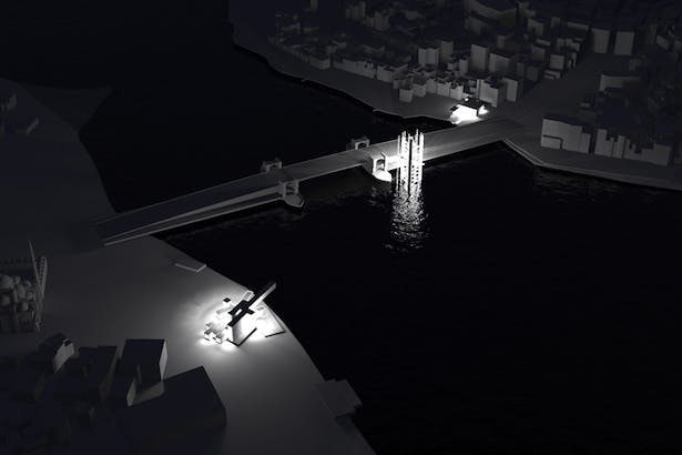 Night Render connecting either ends of the Galata Bridge