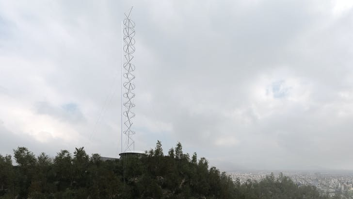Smiljan Radić's proposal for a tower for San Cristóbal Hill. Credit: Smiljan Radić