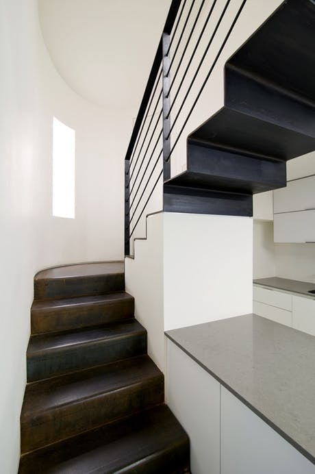 Shot of the steel stairs to gallery