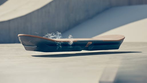 "The Lexus-designed ""SLIDE"" hoverboard, which uses liquid nitrogen-cooled superconductors and magnets. Credit: Lexus"