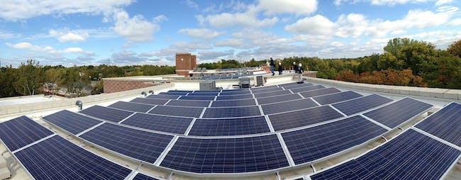 Solar panels on roof, Bancroft School project. Photo credit BNIM.