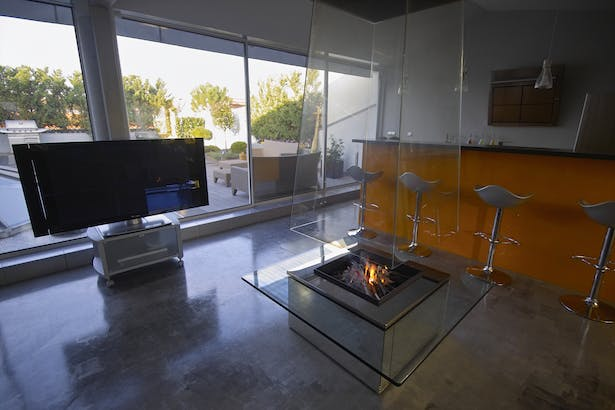Bloch Design suspended glass fireplace 9