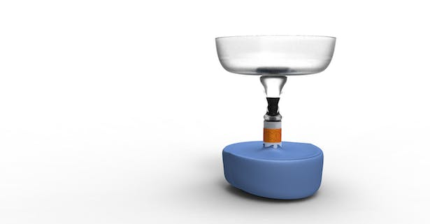 With the filter up, the Rada can be used like a funnel to clean water.
