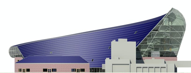 Solar Plaza Fargo, South Elevation with PV skin