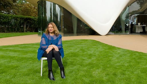 Dame Hadid photographed outside her design for the Magazine restaurant at Serpentine Sackler Gallery. Photo: spiked-online.com