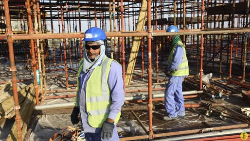 "Still from Amnesty International's video report <a href=""https://youtu.be/BCzEJvH0p5I"">Qatar: World Cup 2022 forced labour</a>."