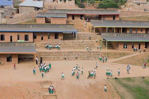 The Umubano Primary School by MASS Design Group, located in Rwanda . Image: Iwan Baan.