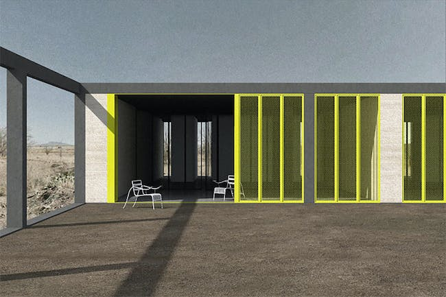 Design Marfa Multi-Family Housing winner: '7+7' by Paul Vincent. Image courtesy of Design Marfa Multi-Family Housing Competition.