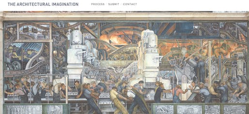 "Screenshot from ""The Architectural Imagination"" website, featuring Diego Rivera's ""Detroit Industry"" mural."