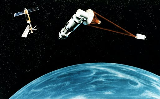 "Completely unrelated, this artists' rendering of Reagan's proposed Strategic Defense Initiative, or ""Star Wars,"" is how this writer imagines climate change blasting lasers. Credit: Wikipedia"