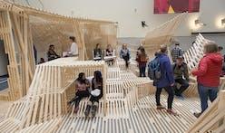 Architecture students' Dunescape-inspired design-build project transforms Iowa State University College of Design atrium