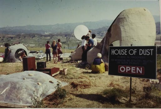 Alison Knowles with Emmett Williams and others at 'The House of Dust,' 1968–72, exterior view. California Institute of the Arts, Valencia, CA. Courtesy of Alison Knowles. From the 2018 Graham Foundation Individual Grant to Nicole L. Woods for 'Performing Chance: The Art of Alison Knowles In/Out...