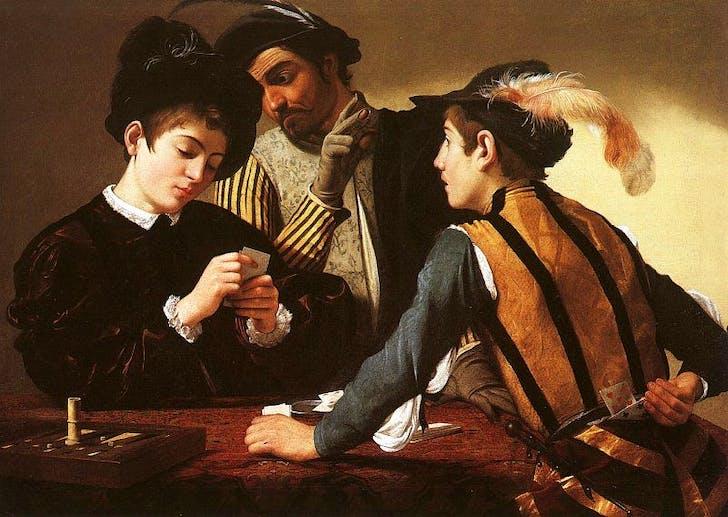 'Jugadores de cartas' (The Cardsharps), Caravaggio (1594). Image via Wikipedia.