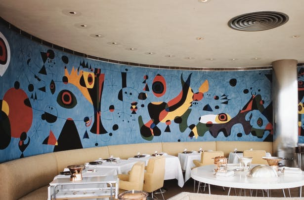 Gourmet Restaurant with mural by Joan Miró [ca. 1948]