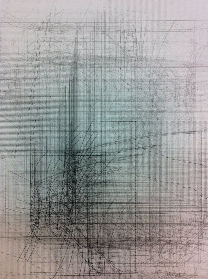 Nesbit's 'phlatness' series extend from his thesis work from his time at SCI-Arc. This piece, a lithograph, is a 'Drawing of a Drawing of a Stair.' Credit: Mike Nesbit