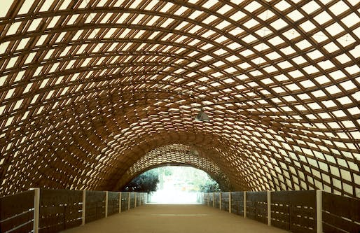 "Roof of the Multihalle in Mannheim, designed by Frei Otto, Carlfried Mutschler and Joachim Langner. Photo © Frei Otto, via <a href=""https://www.flickr.com/photos/eager/16886983477"">Flickr</a>."