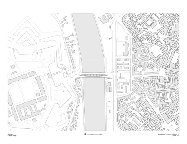 Citadella Bridge, Site Plan. Image Courtesy Richard Meier & Partners Architects.