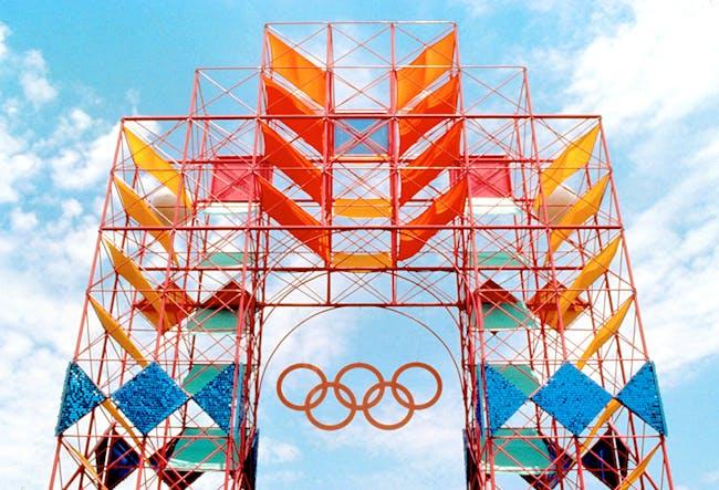 Sussman environmental design from the 1984 Olympics in Los Angeles, image via Metropolismag.com.