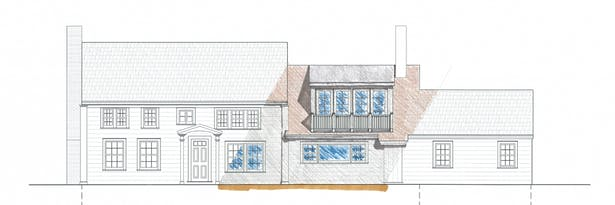 Front Elevation Design Drawing; CAD drafted with Hand Rendering