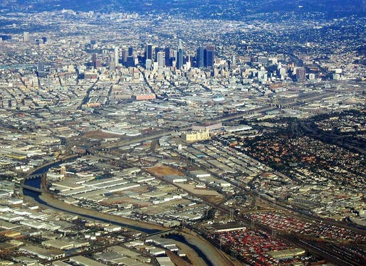 The Los Angeles River (separating East LA and Downtown in this photo) should see more housing development along its banks, advocates a new report from the Los Angeles Business Council. (Image via Wikipedia)