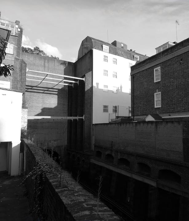 View from west end of ventilation shaft (site)