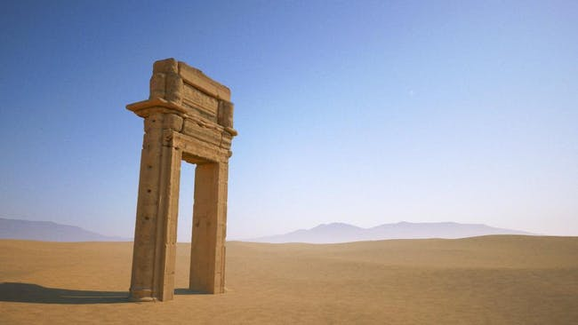 A 3D model of the grand archway is all that's left of Palmyra's ancient Temple of Baal Shamin - destroyed by ISIS militants with 'a large quantity of explosives' in August 2015. (Image: The Institute of Digital Archaeology, via newsweek.com)