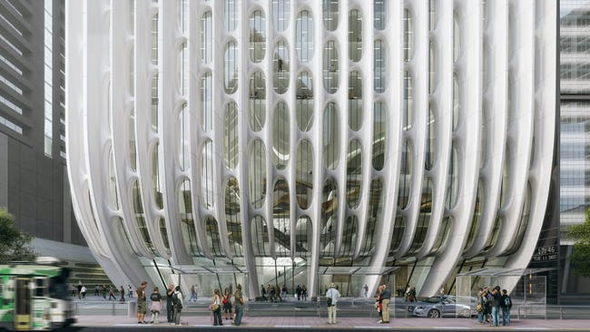 A close-up of the curved sculptural columns on Zaha Hadid's 600 Collins Street. Render by VA ©Zaha Hadid Architects'
