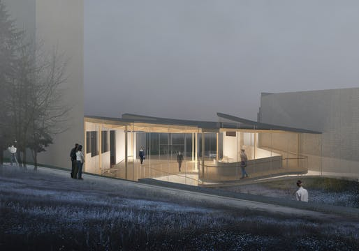 Evening view of Architensions' proposed extension for the Alvar Aalto museum. Image courtesy Architensions.