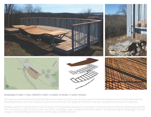 Top Left: Construction photo showing the deck and bench nearly completed. Top Right: Railing connection details. Bottom Left: Site plan. Bottom Middle: Layering of structures and decking. Bottom Right: Shadows from the railing overlaid on top of the pattern of the deck planking.
