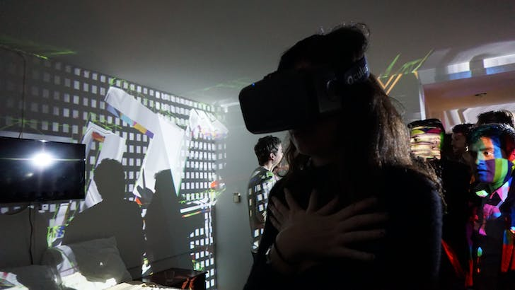 Projects and a VR-headset were part of Mike Nesbit's very popular installation. Image Credit: Nicholas Korody