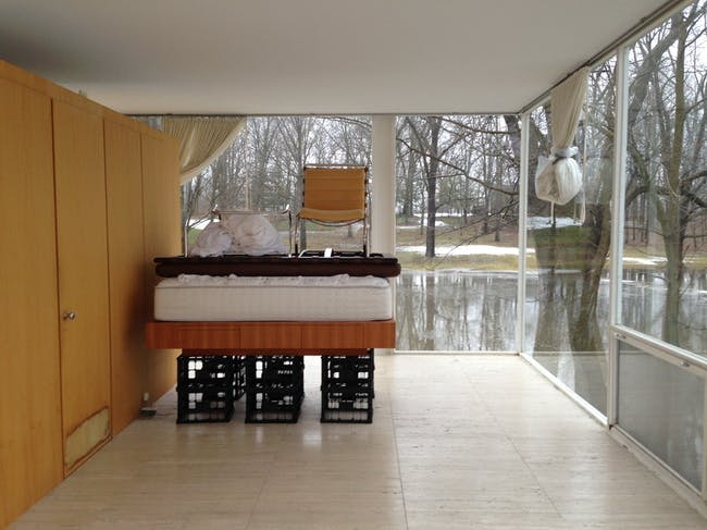 Farnsworth House (interior looking out at flood-waters) via miesglasshouse