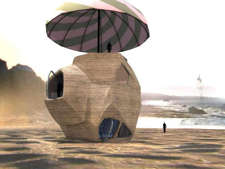 Angelidakis' 'Menir House' is a 'house shaped like a rock sitting under an umbrella on the beach.' It was originally designed for a competition, although never submitted. Credit: Andreas Angelidakis