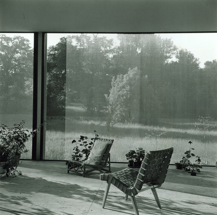 Farnsworth House, looking north from the interior of screened-in porch, furnished by Farnsworth. Undated. Photo by Gorman's Child Photography. Courtesy and copyright of Newberry Library, Chicago, Illinois.