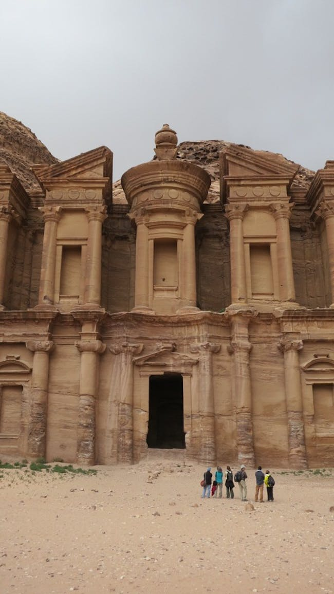 The scanning team looking up at the Monastery, the largest monument at Petra, Jordan. Courtesy of Emma Pound/Atlantic Productions