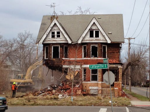 Abandoned house demolition in Detroit