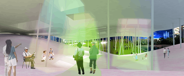 rendered view from beneath housing slab
