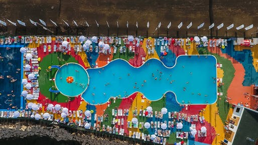 Aerial view of the pool from the beach, Almetyevsk, Public Spaces Development Programme, various locations, Tatarstan, Russian Federation. Photo: Ivan Petrov.