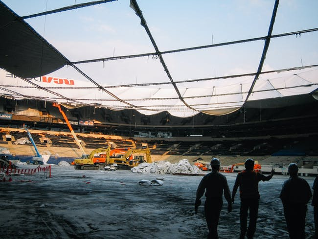 RCA Dome roof, coming down. Image courtesy of PUP.