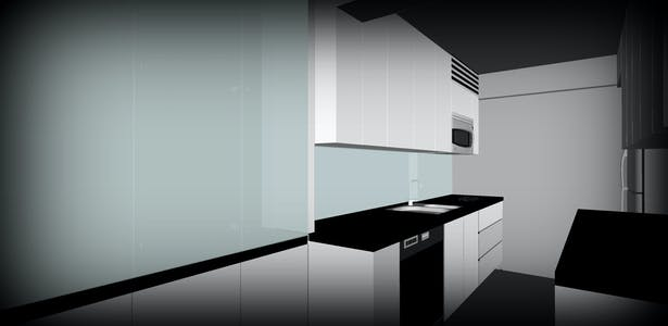 Rendering based on the final design with all the kitchen appliances
