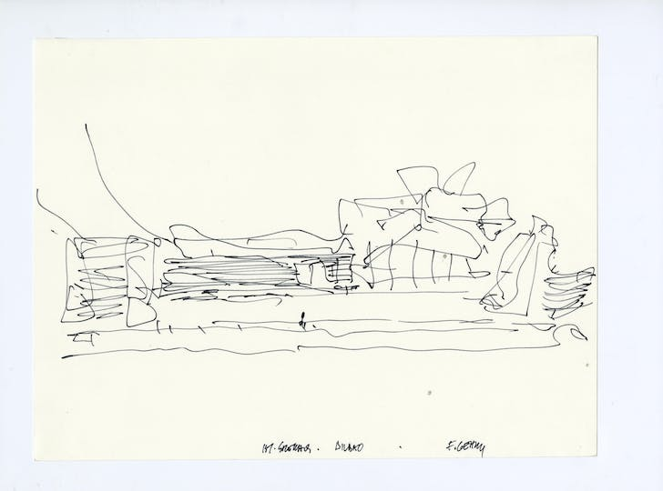 Sketch for Guggenheim Museum Bilbao. Image courtesy of LACMA.