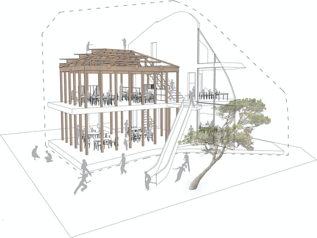 Clover House - Interior Structural Diagram. Image courtesy of MAD.