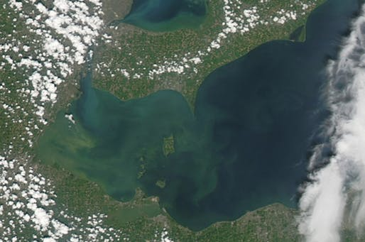 A NASA image of the algae bloom in Lake Erie. Via: Al Jazeera