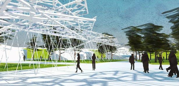 Shading elements in Open space area | for Bazaar and outdoor activities