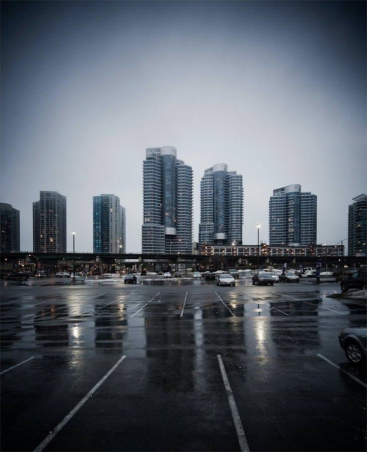 Glass towers and Gardiner Expressway, Toronto, ON © Sam Javanrouh