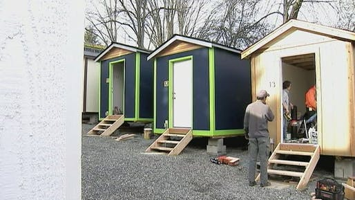The tiny house village in Seattle, built by the Lutheran Church of the Good Shepherd (image via kirotv.com)