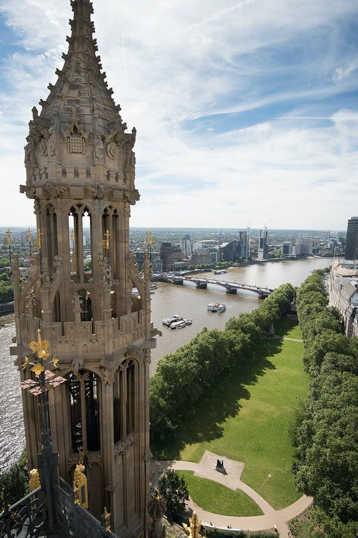 Aerial view of Victoria Tower Gardens from Victoria Tower. © Malcolm Reading Consultants/Emily Whitfield-Wicks.