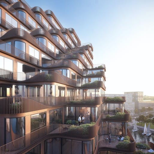 Angled balconies and terraces give all suites lake views. Credit: 3XN.
